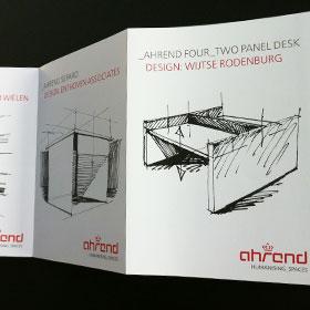 Grafisch ontwerp vouwfolder producten Ahrend ontwerper Carmen Nutbey