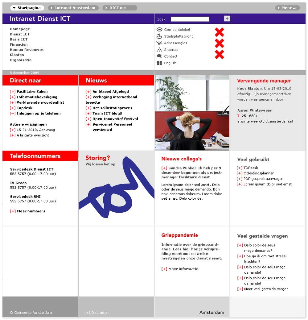 webdesign Intranet van Dienst ICT Amsterdam