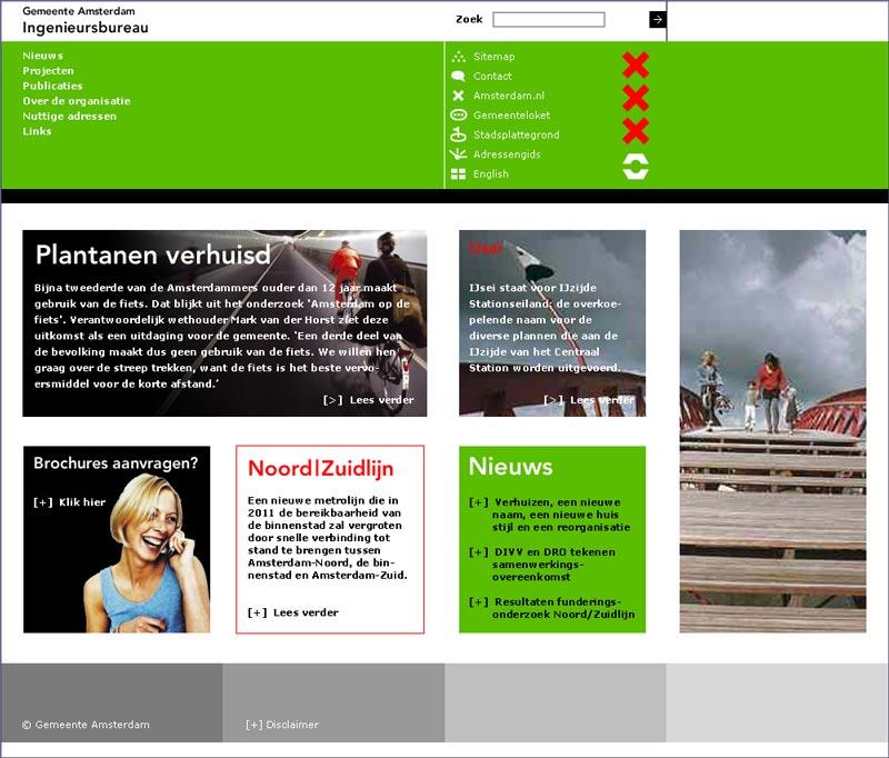 Amsterdam huisstijl Ingenieursbureau IBA - website