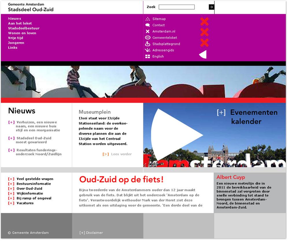 visual design, Webontwerp, webdesign & logodesign Stadsdeel Oud-Zuid Gemeente Amsterdam