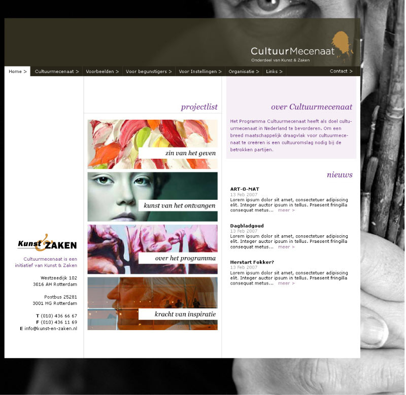 visual design Kunst_&_Zaken website CultuurMecenaat