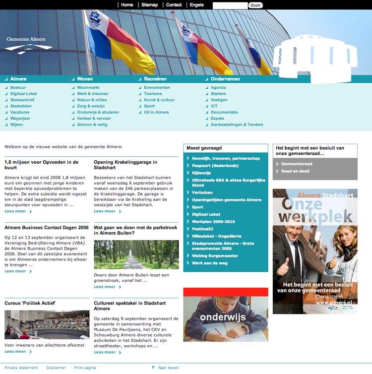 visueel ontwerp website Gemeente Almere webontwerper Carmen Nutbey