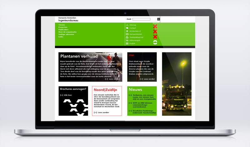 Visual design homepage Ingenieursbureau Amsterdam