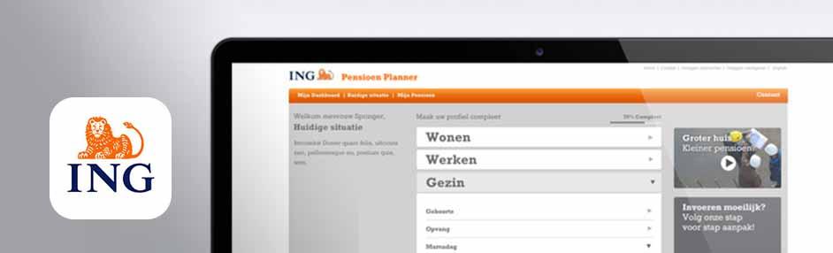 Visual UX UI design online tools om uw pensioen te plannen. Webontwerp door NutbeyDesign, freelance grafisch ontwerper in Amsterdam