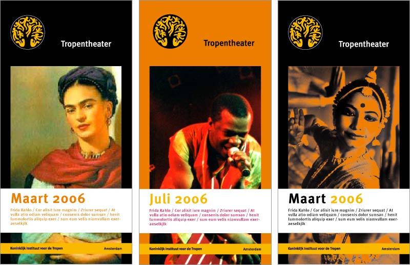 ontwerpvoorstel leaflets Tropentheater KIT design Carmen Nutbey