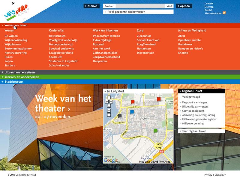 visual design homepage Gemeente Lelystad