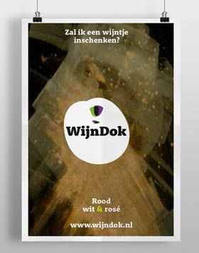 WijnDok huisstijl en affiche; grafisch ontwerper nutbeydesign Amsterdam