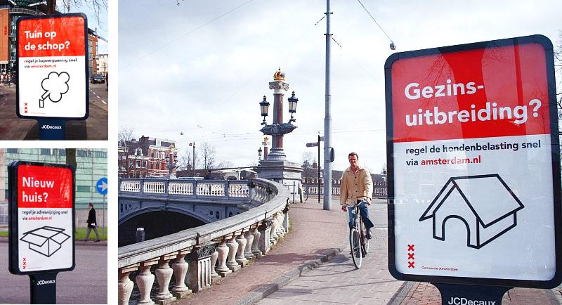 Affiches met pictogrammen voor promotie campagne digitaal loket Amsterdam