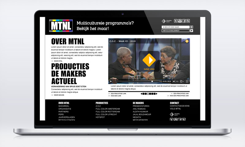 homepage web design mtnl