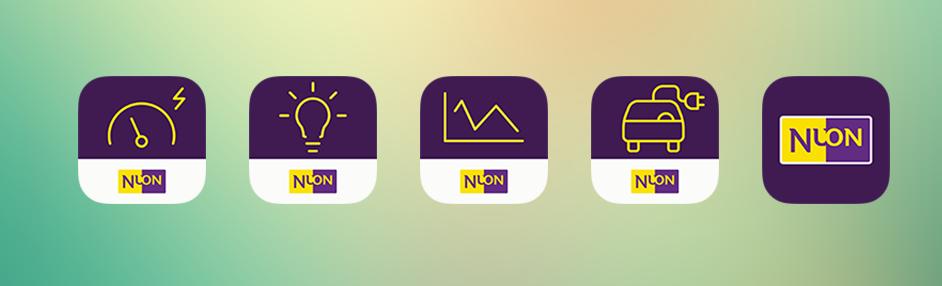 Ontwerp familie App-icons voor NUON. Ontwerper freelance graphic ui/ux designer Carmen Nutbey nutbeydesign Amsterdam