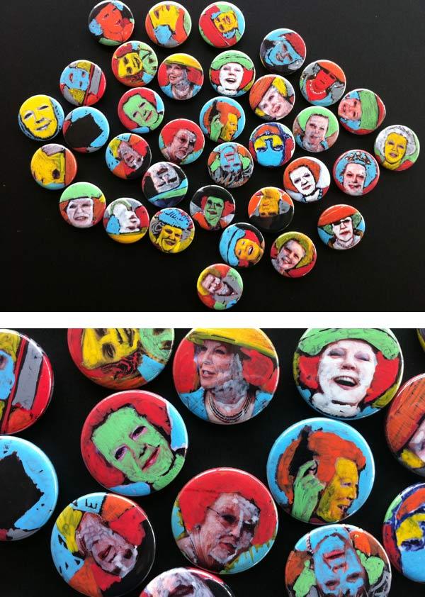 aftreden koningin beatrix, van oranje nassau, Custommade Beabuts, nutbut buttons, portret, unieke-Beabuts nutbut buttons
