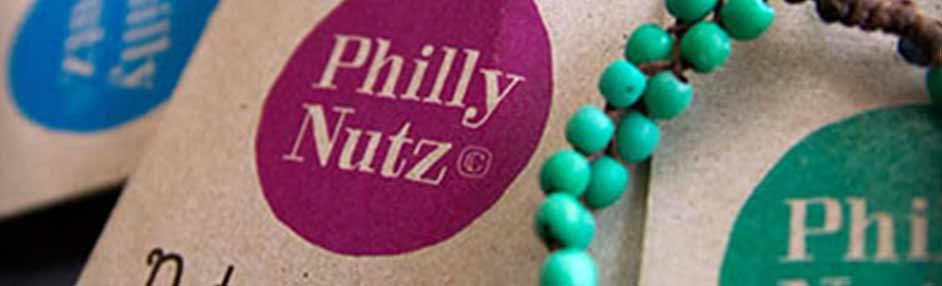 Logo of beeldmerk voor Philly Nutz, ontwerp Carmen Nutbey van NutbeyDesign uit Amsterdam